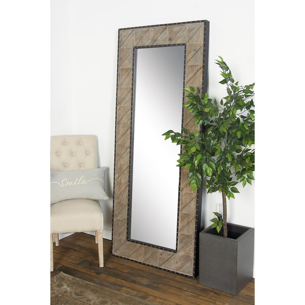 Rectangular Brown Door/Wall Mirror with Stud Frame Details