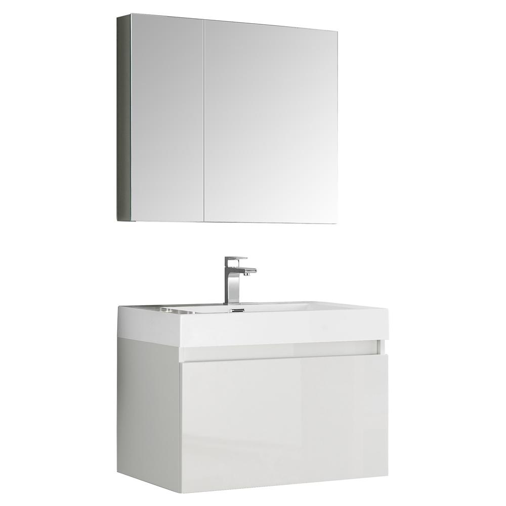 Fresca Mezzo 30 in. Vanity in White with Acrylic Vanity Top in White with White Basin and Mirrored Medicine Cabinet