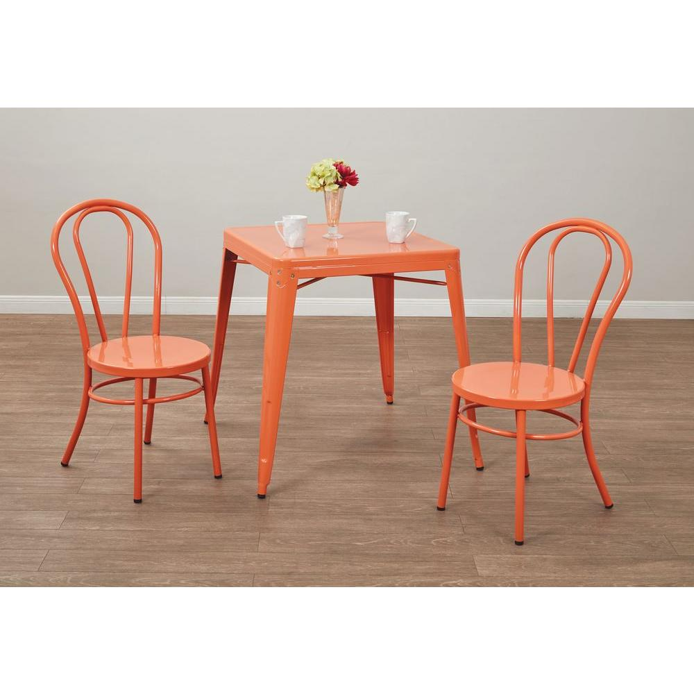 OSPdesigns Odessa Solid Orange Metal Dining Chair Set of 2