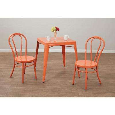 Odessa Solid Orange Metal Dining Chair (Set of 2)