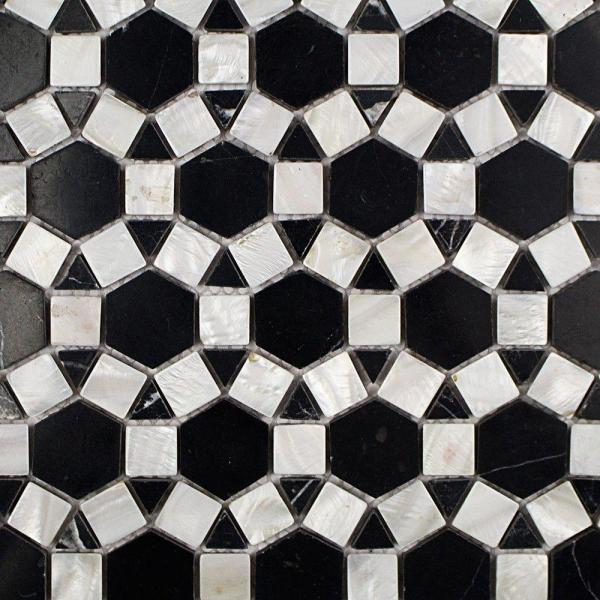 Noble Hexagon Nero Marquina 9-3/4 in. x 12-1/4 in. x 10 mm Polished Pearl and Marble Mosaic Tile