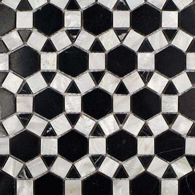 Noble Hexagon Nero Marquina Pearl and Marble Tile - 3 in. x 6 in. Tile Sample