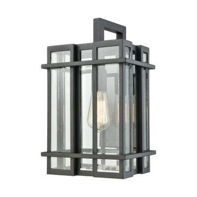 Glass Tower Medium 1-Light Matte Black with Clear Glass Outdoor Wall Mount Sconce
