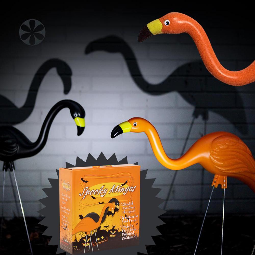 bloem spooky flamingo plastic halloween yard decor orange and black