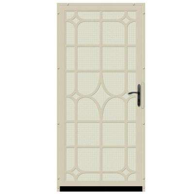 36 in. x 80 in. Lexington Almond Surface Mount Steel Security Door with Almond Perforated Screen and Bronze Hardware