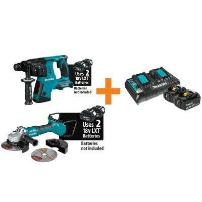 18-Volt X2 LXT 1 in. SDS-Plus Cordless Rotary Hammer Drill with Bonus Angle Grinder, 2 Batteries 5.0 Ah, Dual Charger