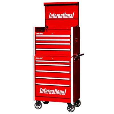 Pro 27 in. 9-Drawer Tool Chest and Cabinet Combo in Red