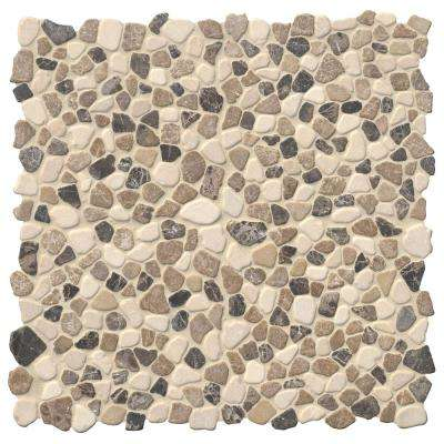 Mix Marble Pebbles 11.42 in. x 11.42 in. x 10mm Tumbled Marble Mesh-Mounted Mosaic Tile (9.1 sq. ft. / case)