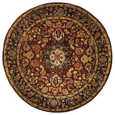 Classic Burgundy/Navy 8 ft. x 8 ft. Round Area Rug