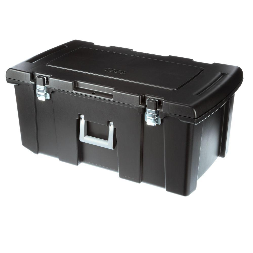 Sterilite 92 Qt. Footlocker Storage Box, Black