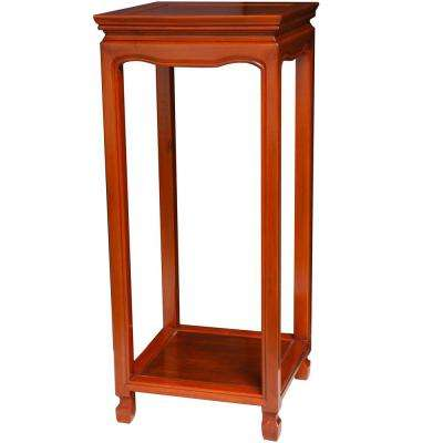 Oriental Furniture 12 in. Rosewood Oriental Square Stand in Honey