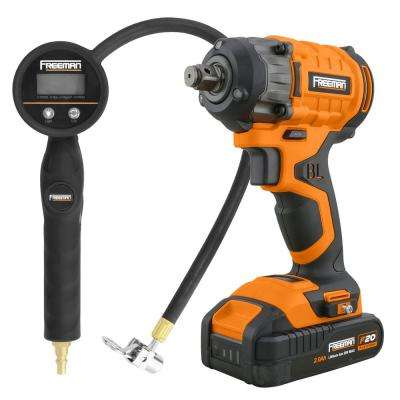 20-Volt Brushless and Cordless 1/2 in. Impact Wrench with Case and Digital Tire Inflator with 90-Degree Lock-On Chuck