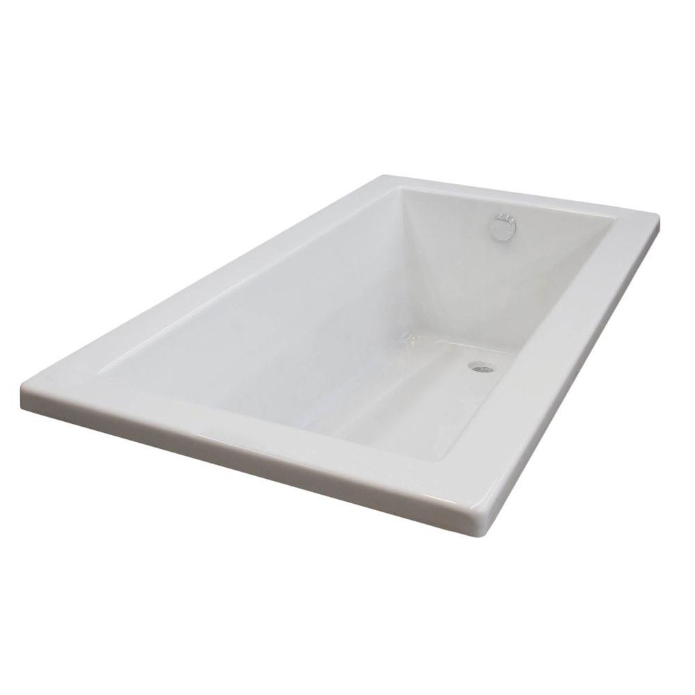 Acrylic Reversible Drain Rectangular Bathtub In White