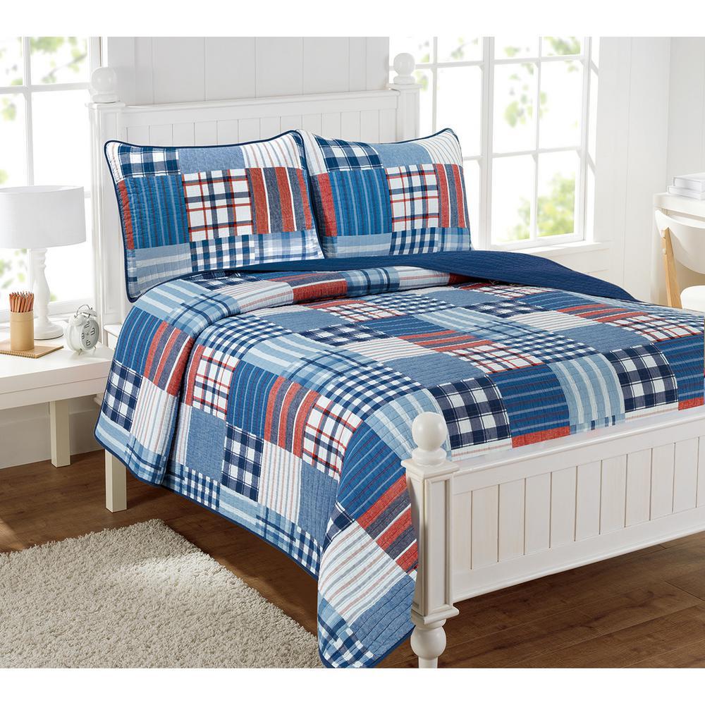 Hudson Patchwork 2-Piece Multi-Color Twin Quilt Set