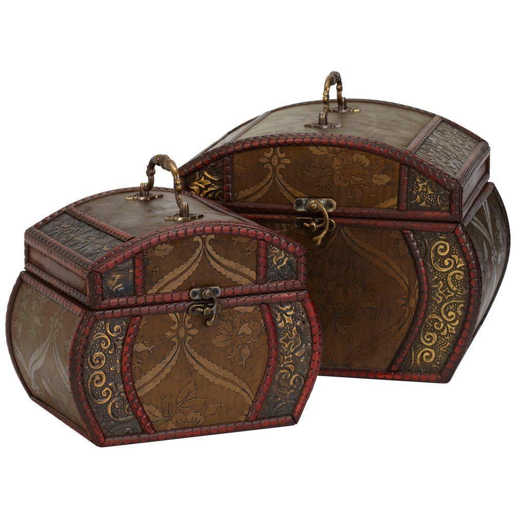 Nearly Natural 10 in. H Brown Decorative Chests (Set of 2)
