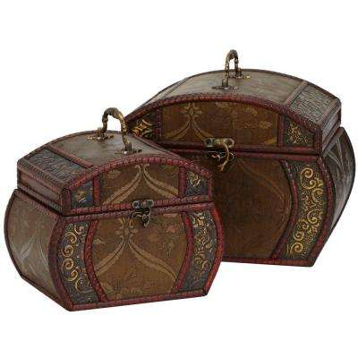 10 in. H Brown Decorative Chests (Set of 2)