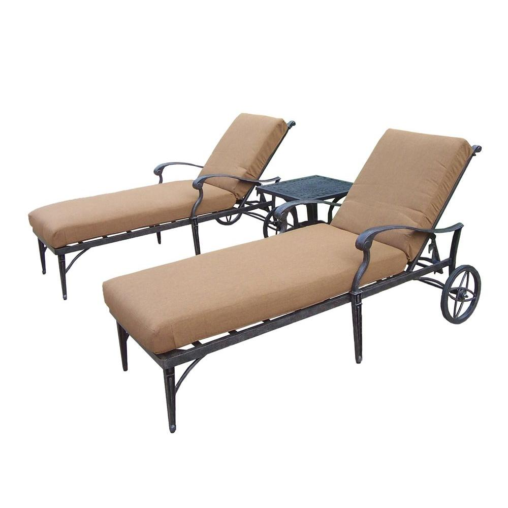 Oakland living belmont 3 piece patio chaise lounge set for Chaise longue cushion