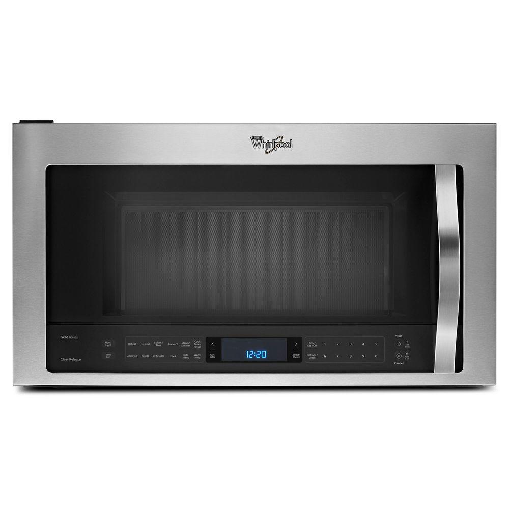Whirlpool 1 9 Cu Ft Over The Range Convection Microwave In Stainless Steel With Sensor