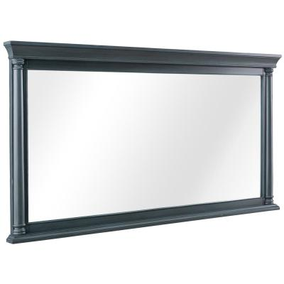 Stousse 60 in. W x 32 in. H Framed Wall Mirror in Distressed Blue Fog