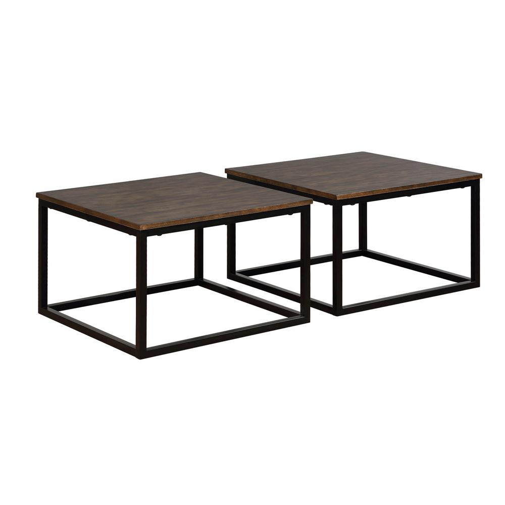 Alaterre Furniture Arcadia Antiqued Mocha Acacia Wood Square Coffee Tables Set Of 2 Anar1175b The Home Depot