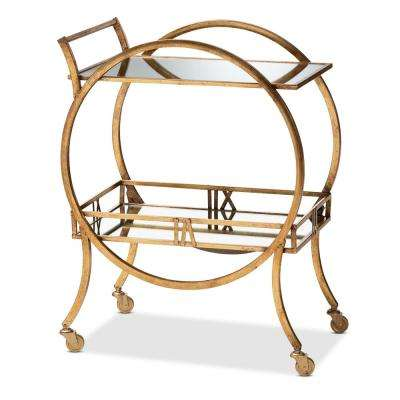 Arsene Antique Gold 2-Tier Mobile Bar Cart