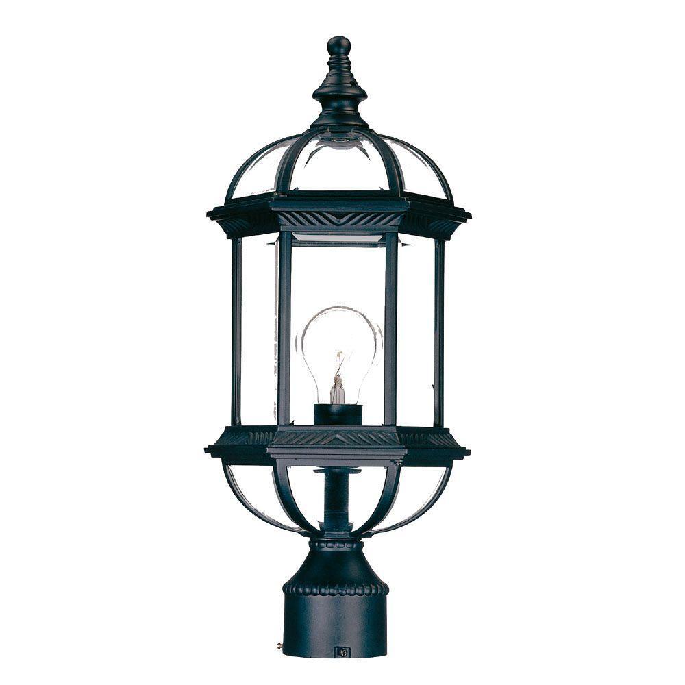 Dover 1-Light Matte Black Outdoor Post-Mount Light Fixture
