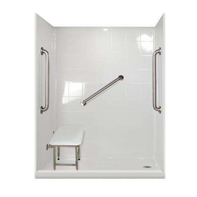 Plus 24 Package 60 in. x 33.375 in. x 79.5 in. 5-Piece Low Threshold Shower Stall in White, Right Drain
