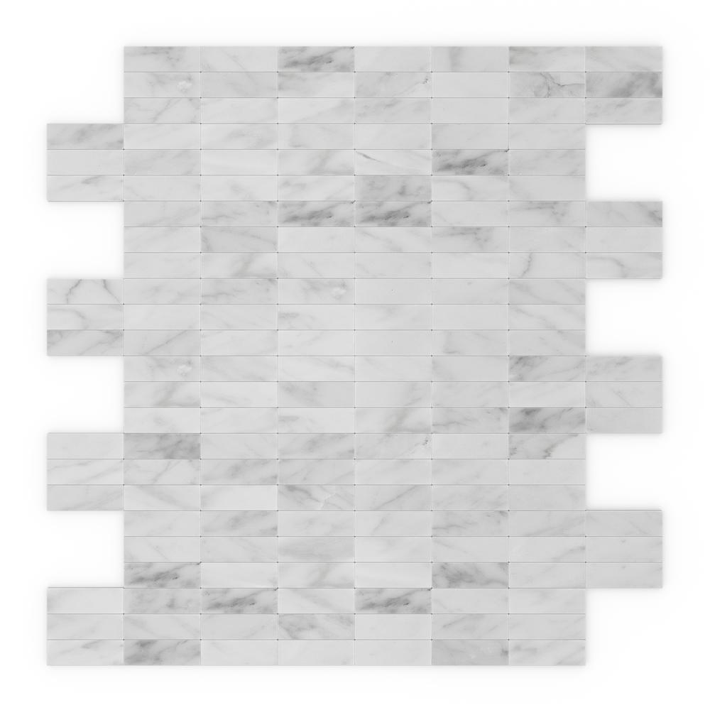 inoxia speedtiles freezy white in x in x 5 mm stone self adhesive wall mosaic tile. Black Bedroom Furniture Sets. Home Design Ideas