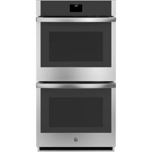 GE 27 in. Smart Double Electric Wall Oven with Convection (Upper Oven) Self-Cleaning in Stainless Steel