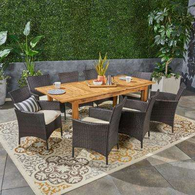 Nadia Multi-Brown 9-Piece Wood and Wicker Outdoor Dining Set with Beige Cushions