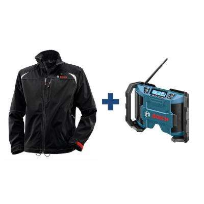 Men's Black Heated Jacket Kit with Free 12 Volt Lithium-Ion Cordless Compact Jobsite Radio