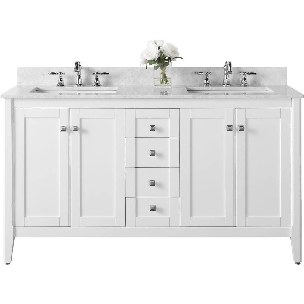 Ancerre Designs Shelton 60 in. W x 22 in. D Vanity in White with Marble Vanity Top in Carrara White with White Basins