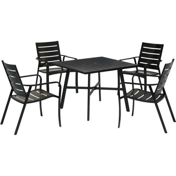 Cortino 5-Piece Commercial-Grade Aluminum Outdoor Dining Set with 4 Slat-Back Dining Chairs and a 38 in. Slat-Top Table