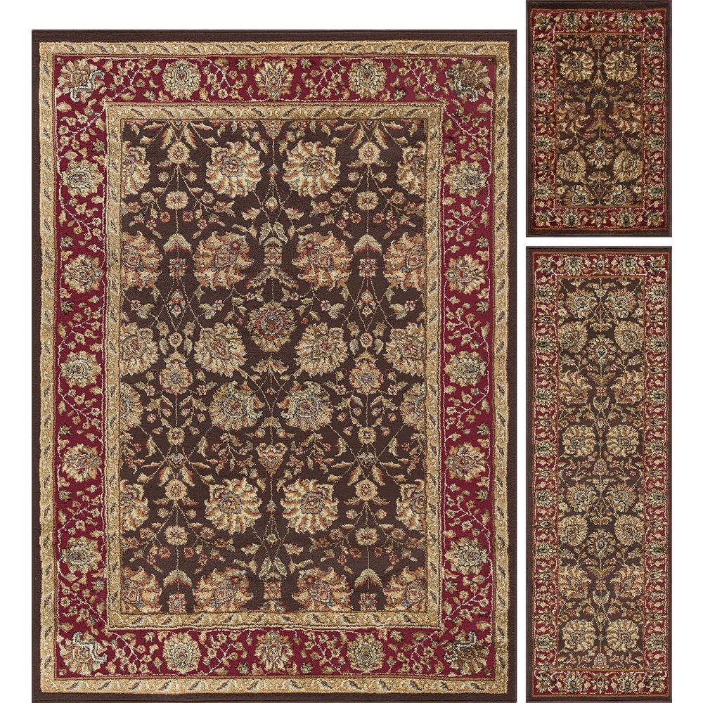 Tayse Rugs Elegance Brown 5 Ft X 7 3 Piece Rug Set