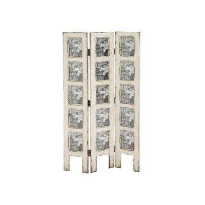 27 in. x 51 in. Distressed Ivory 3-Panel Wood Screen with Photo Frame Panel Inserts