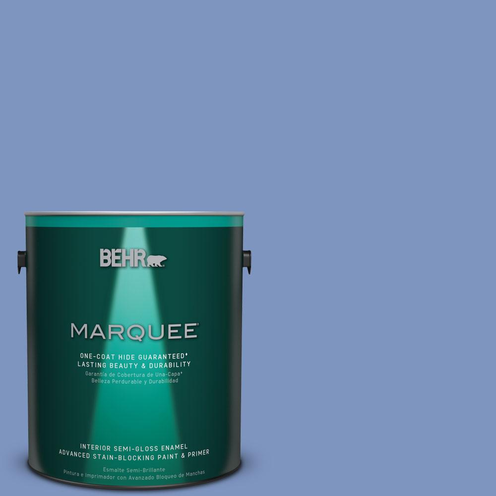 1 gal. #M540-5 Blue Satin One-Coat Hide Semi-Gloss Enamel Interior Paint