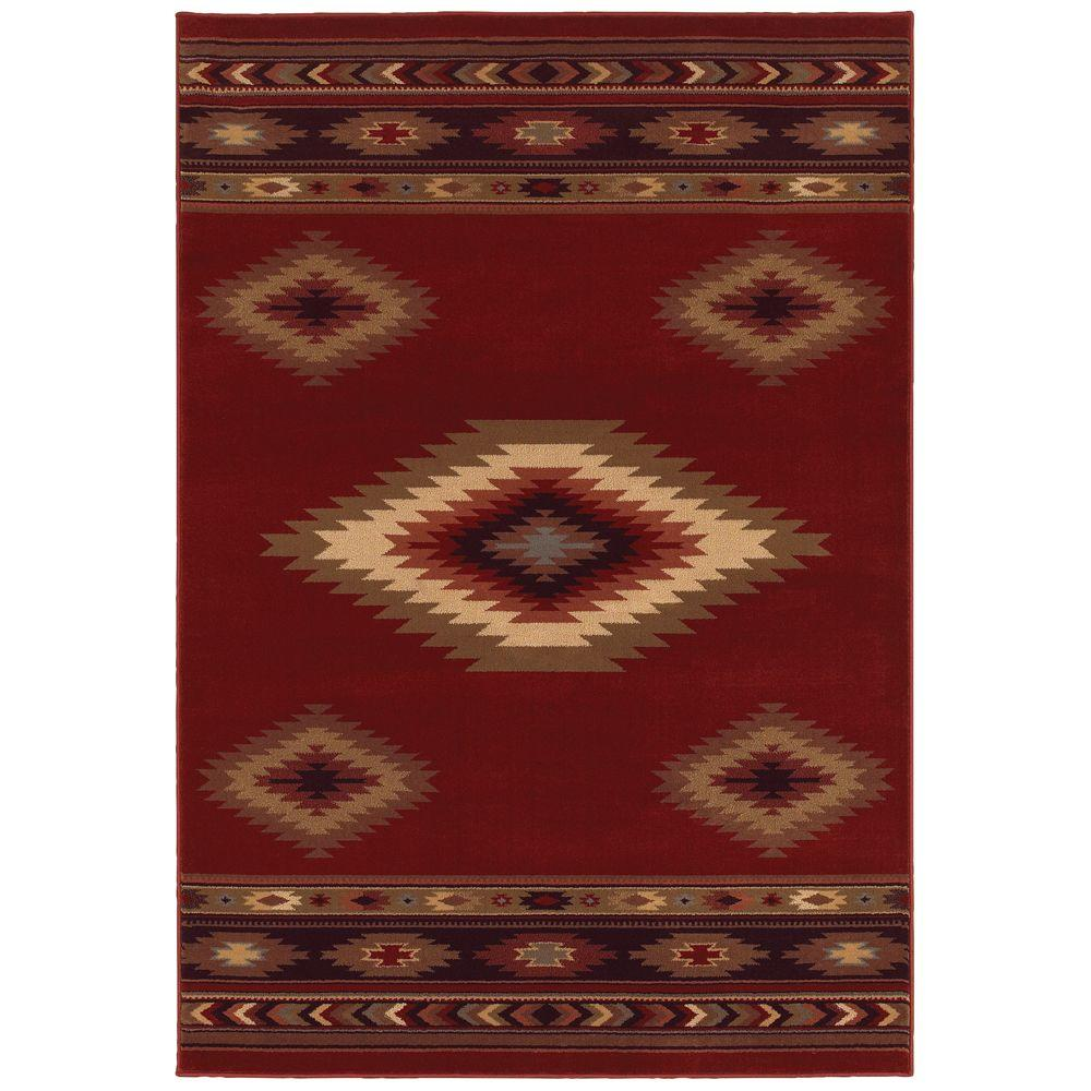 Aztec Red 9 ft. 6 in. x 12 ft. 2 in. Area Rug