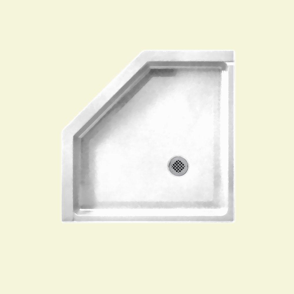 Veritek Neo Angle 38 in. x 38 in. Single Threshold Shower Pan in White
