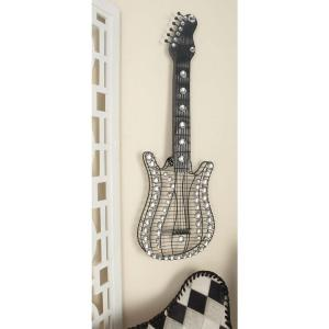 12 inch x 36 inch Glitz-Inspired Iron Wire Guitar Wall Sculpture by