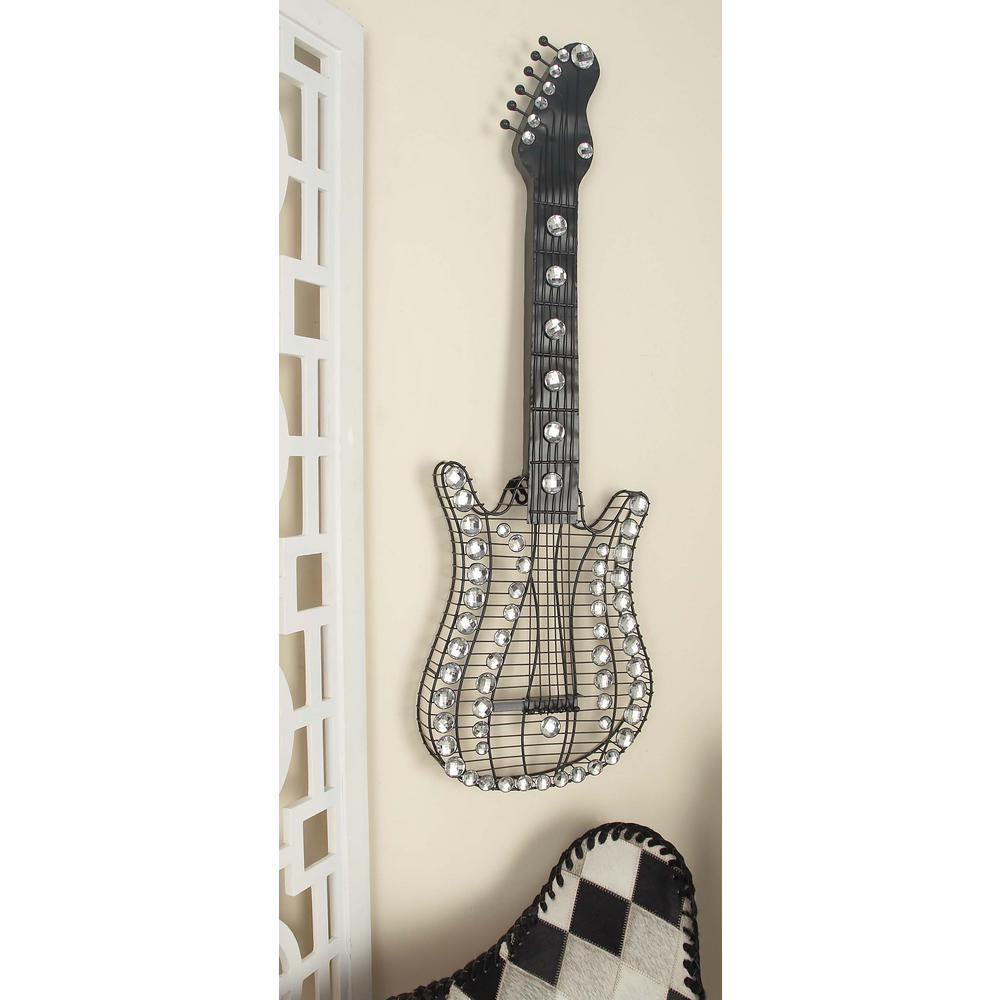 12 in. x 36 in. Glitz-Inspired Iron Wire Guitar Wall Sculpture