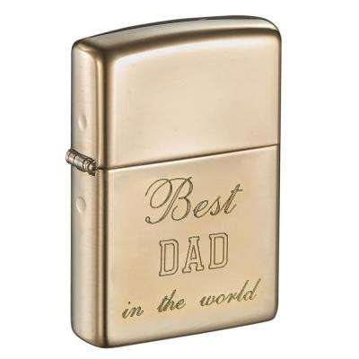 Zippo High Polish Brass Armor Engraved Father's Day Lighter