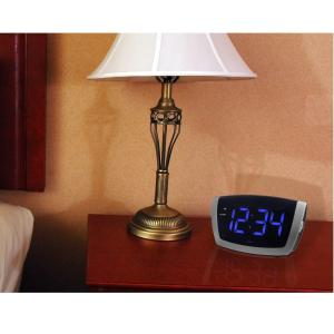 Large 1.8 in. Blue LED Electric Alarm Table Clock with USB Port