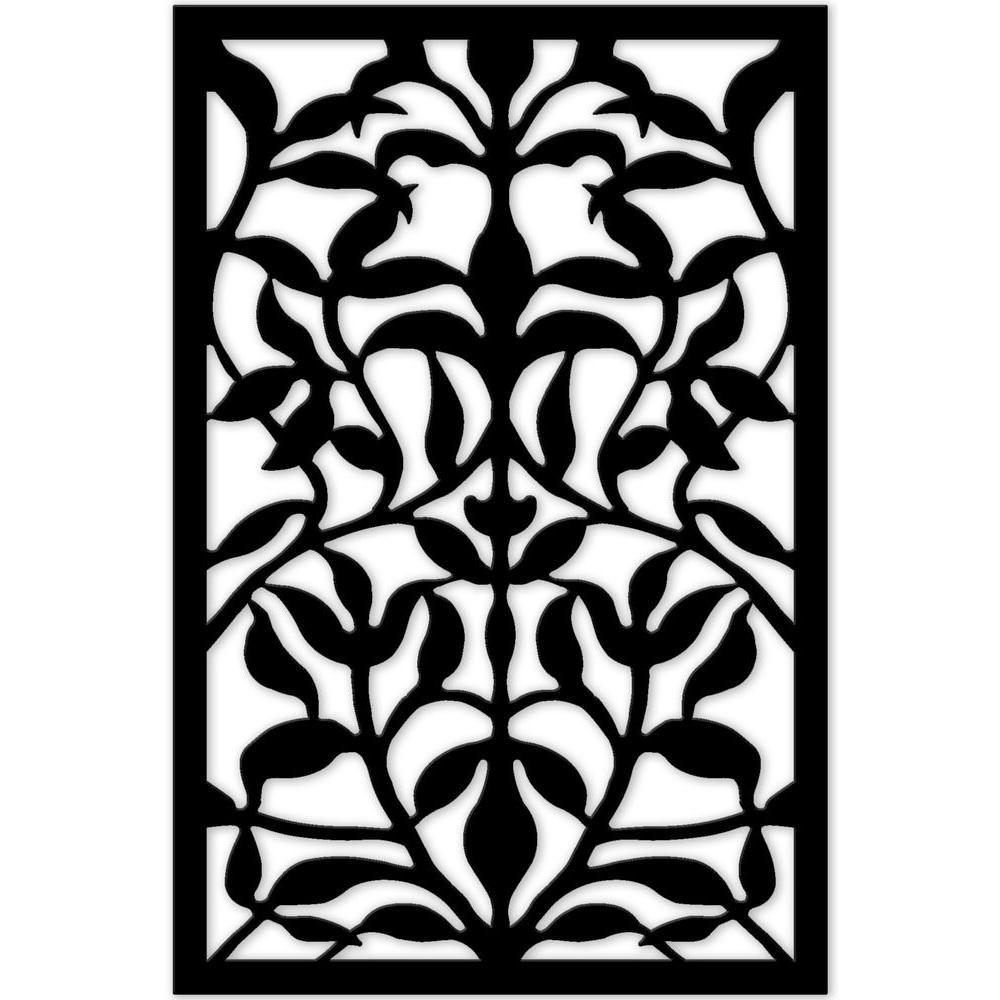Olive Branch 32 in. x 4 ft. Black Vinyl Decorative Screen Panel