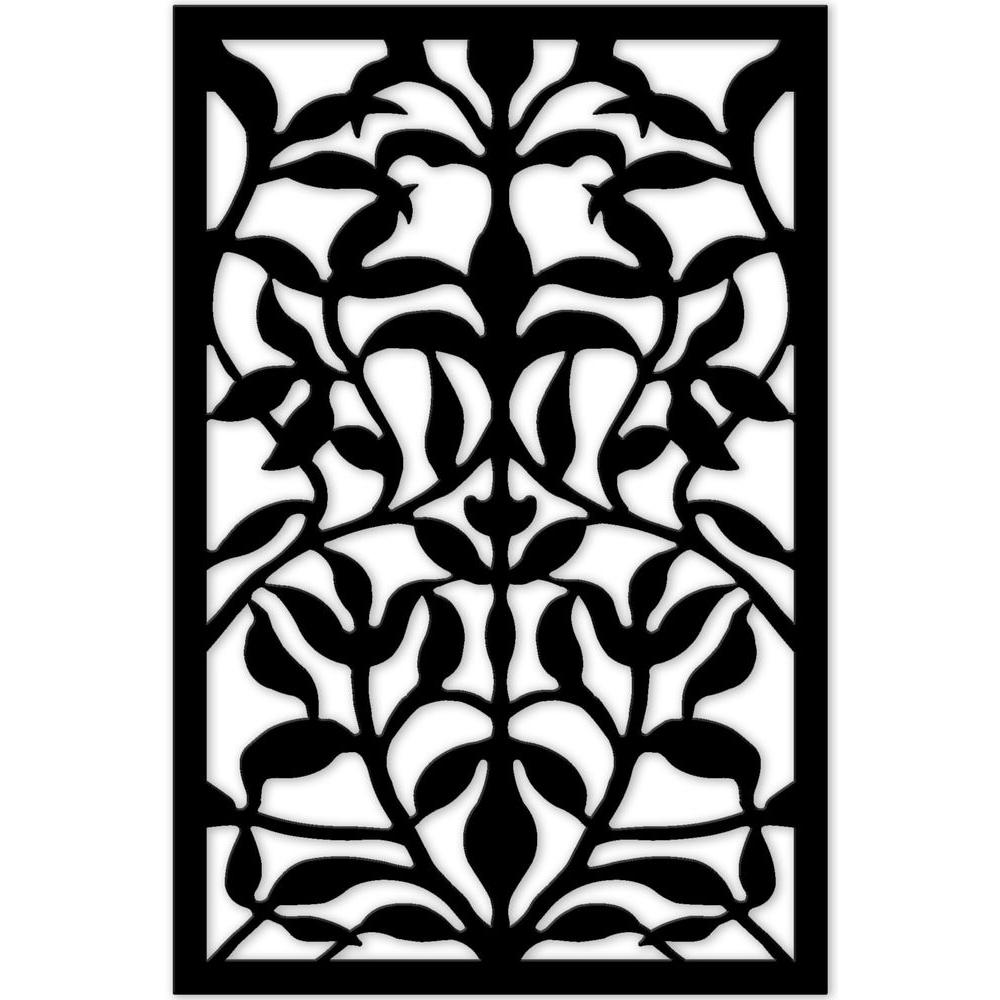 Acurio Latticeworks 1/4 in. x 32 in. x 4 ft. Black Olive Branch Vinyl Decorative Panel