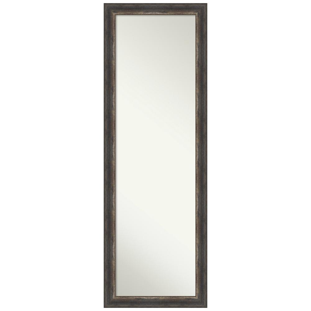 Large Rectangle Distressed Black Brown/Tan Silver Metallic Hooks Casual Mirror (51.5 in. H x 17.5 in. W)