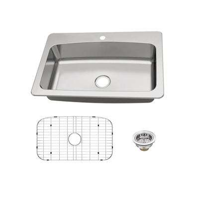 Dual Mount 18-Gauge Stainless Steel 33 in. 1-Hole Single Bowl Kitchen Sink with Grid and Drain Assembly