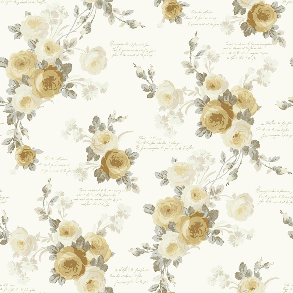 MagnoliaHomebyJoannaGaines Magnolia Home by Joanna Gaines 56 sq. ft. Heirloom Rose Removable Wallpaper, Yellow/Gray/White