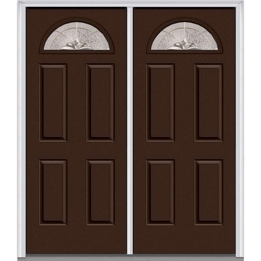 64 in. x 80 in. Heirloom Master Left-Hand Fan Lite 4-Panel Classic Painted Steel Prehung Front Door
