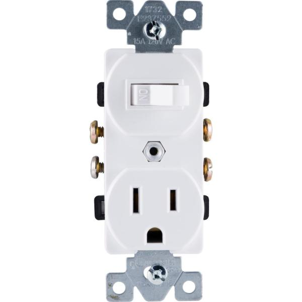 ge allinone toggle switch and single pole outlet white