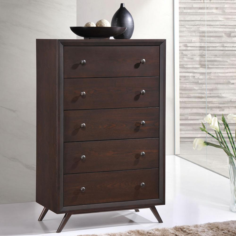 Tracy 5-Drawer Cappuccino Chest